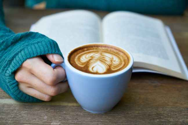 blur book close up coffee
